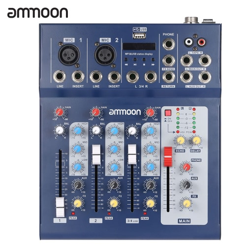 ammoon  F4-USB 3 Channel Digtal Mic Line Audio Mixing Mixer Console with 48V Phantom Power for Recording DJ Stage Karaoke Music Appreciation