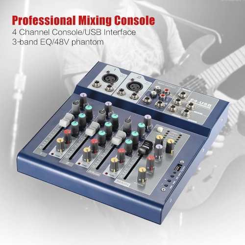 Professional Metal 4 Channel Live Mixer Mixing Console 3-Band EQ USB Function 48V Phantom with Bulit-in Effect Processor Mic Input