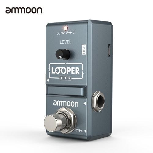 ammoon AP-09 Nano Loop Pédale d'effet guitare électrique Looper True Bypass Overdubs illimités 10 Minutes Enregistrement avec câble USB