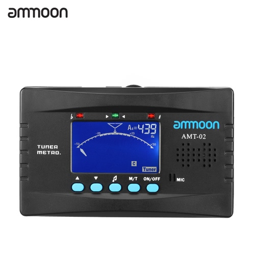 ammoon AMT-02 3 in 1 Electronic Digital Tuner Metronome Tone Generator Clip-on Mic Tuning LCD Screen for Chromatic Guitar Bass Ukulele Violin