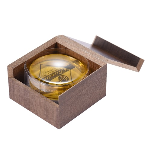 High-Class Transparent Yellow Rosin Colophony Low Dust Handmade Rounded with Wooden Box Universal for Violin Viola Cello Erhu Bowed String Musical Instruments