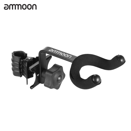 ammoon Adjustable Guitar Clip-on Hanger Keeper Hook for Bass Ukelele Mandolin Metal Black