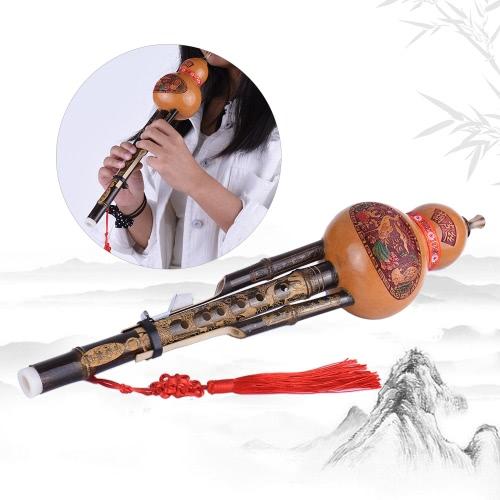 Chiński Handmade czarne Bamboo Hulusi Gurda Cucurbit flet Ethnic Musical Instrument Klucz C z skrzynka dla początkujących melomanów