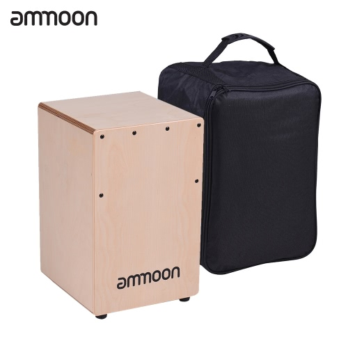 ammoon Wooden Cajon Box Drum Hand Drum Persussion Instrument Birch Wood with Adjustable Strings Carrying Bag for Children Kids