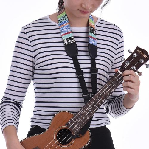 Clip On Adjustable Ukelele Strap Neck Sling Soft Cotton with Sound Hole Hook Geometric Pattern