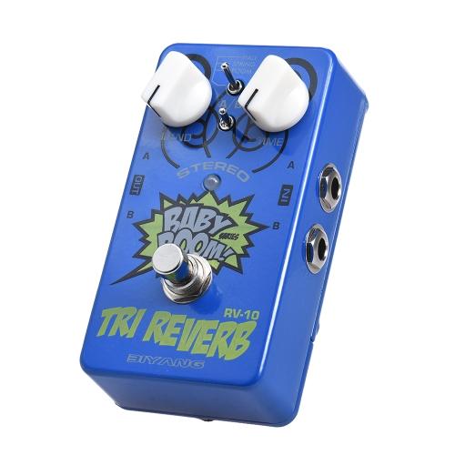 BIYANG RV-10 BABY BOOM Serie 3 Modos Stereo Reverb Pedal de efectos de guitarra True Bypass Full Metal Shell