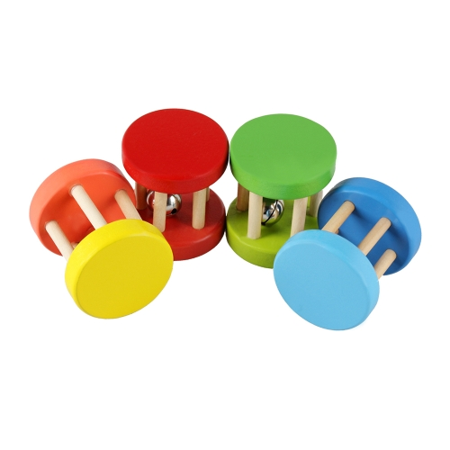 Colorful Wooden Handbell Wood Jingle Bell Musical Toy for Baby Toddlers Kids Children (Random Color Delivery)