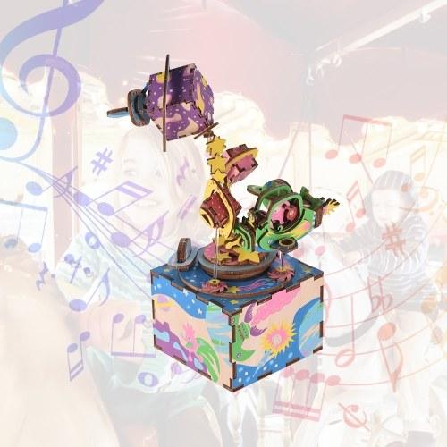 Деревянная ручная музыкальная шкатулка для ключей DIY Set Cartoon Airship Design Рождественский день рождения Музыкальный фестиваль подарков для друзей влюбленных