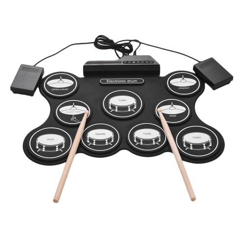 Bild von Tragbare USB Roll Up Drum Kit Digitale Elektronische Drum Set 9 Silicon Drum Pads mit Drumsticks Fuß Pedale für Anfänger Kinder
