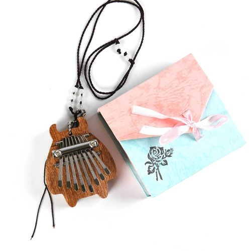 8-Key Mini Kalimba Portable Finger Finger Piano Percussion Pocket Instrumento musical con collar