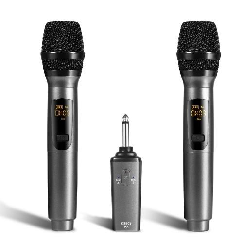 Tragbare wiederaufladbare 10-Kanal-Funkmikrofone UHF-Mikrofone mit einem Arbeitsabstand des Empfängers von 50 Fuß