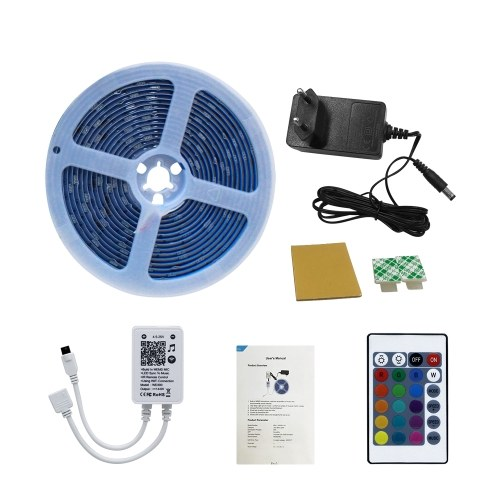LED Strip Lights Kit 5050 RGB Flexible LED Strips 5m Tape Lights Multicolor Changing with WiFi Music Controller IR Remote Control