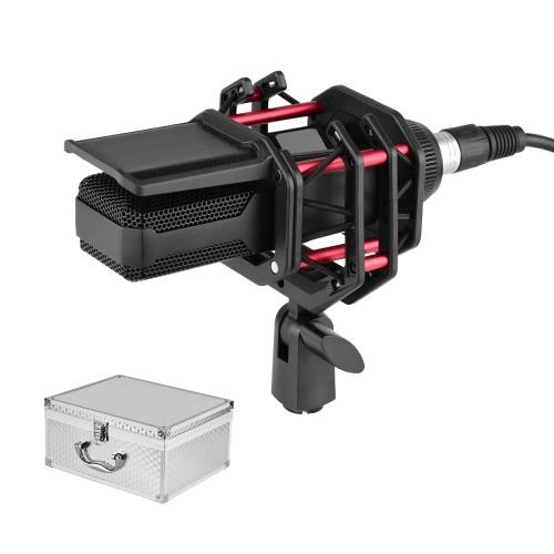 Ammoon Micrófono de condensador profesional con filtro antipop con montaje de choque Cable XLR de 3 pines Estuche de transporte de aleación de aluminio para transmisión de grabación de transmisión de video
