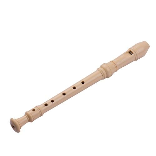 QI MEI 6-Loch Sopran Descant Recorder Flöte im deutschen Stil mit Putzstock Fingerauflagegurt Stoff Aufbewahrungstasche