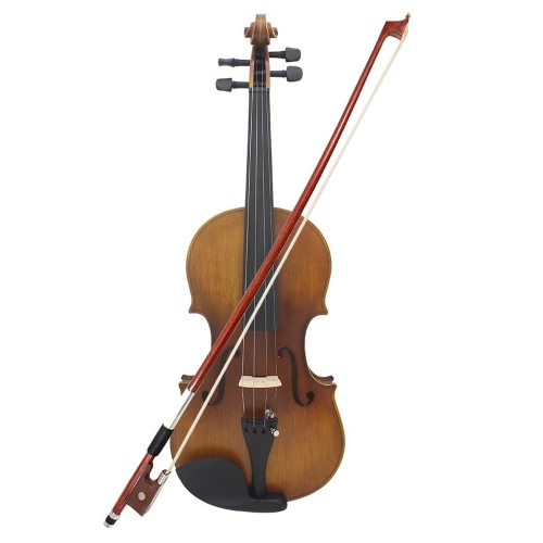 4/4 Full Size Violin Fiddle Matte Finish Spruce Face Board Ebony Fretboard 4-String Instrument with Hard Case Bow Rosin Clean Cloth