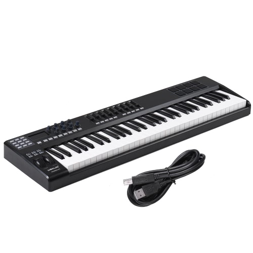 PANDA61 61-Key USB MIDI Keyboard Controller 8 Drum Pads with USB Cable
