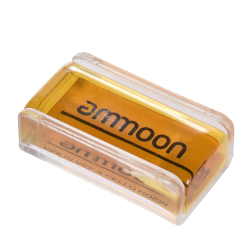 ammoon High-Class Transparent Orange Natural Rosin with Cuboid Wood Box for Violin Viola Cello Handmade Light and Low Dust