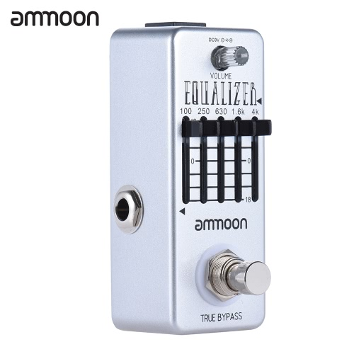 ammoon AP-20 Mini Guitar Equalizer Effect Pedal 5-Band Graphic EQ Aluminum Alloy Body True Bypass