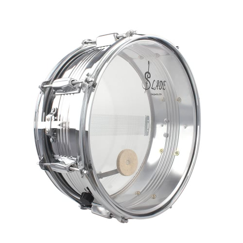 14in Snare Drum Stainless Steel Drum Body Transparent PVC Drumhead with Case Sticks Gloves Shoulder Strap for Student Professional Drummer