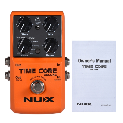 NUX TIME CORE DELUXE Electric Guitar Digital Delay Effect Pedal with 7 Delay Types 40s Loop Recording True Bypass