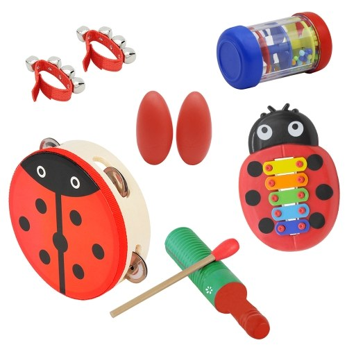 Image of Musical Toys Percussion Instruments Band Rhythm Kit for Kids Children Toddlers Including Cute Tambourine + Wooden Guiro + Cartoon Glockenspiel + Rain Stick + Handbells + Egg Shape Maracas