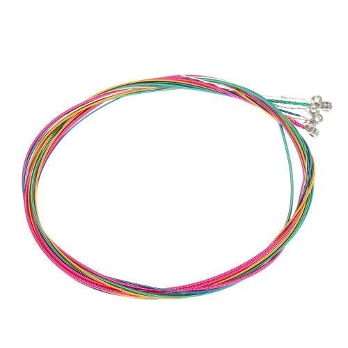 6ピース/セット虹色カラフルなアコースティックギター弦楽器交換鋼弦ワイヤー