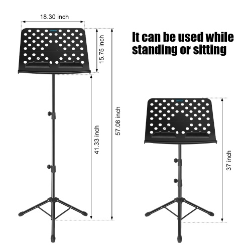 ammoon Portable Floor Type Sheet Music Stand Metal Material Adjustable Height with Carry Bag Black