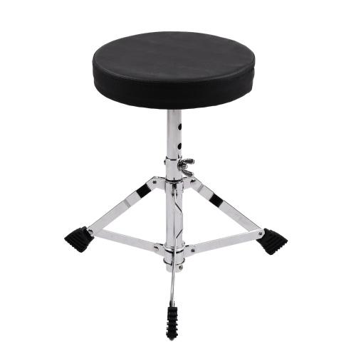Juniors Drum Throne - Asiento de tambor redondo y acolchado Taburete Patas de acero inoxidable con refuerzo simple Antideslizante