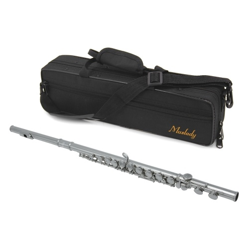 Muslady FL-200S Closed Hole C Flute 16 Keys Cupronickel Silver-plated Wind Instrument