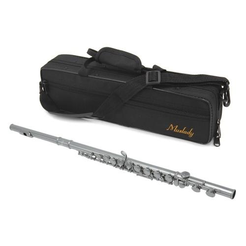 Muslady FL-200S Agujero cerrado Flauta C 16 teclas Instrumento de viento plateado cuproníquel