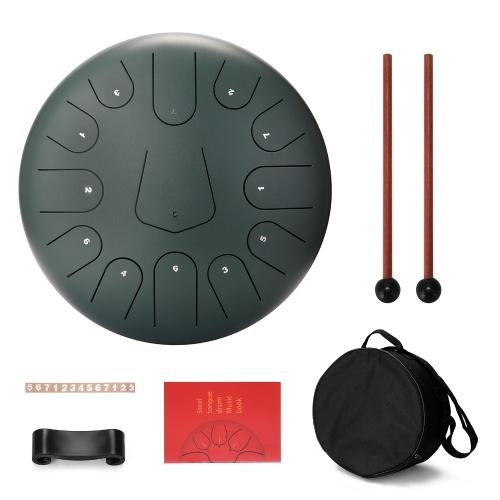 Tambor de lengua de acero de 12 pulgadas y 13 tonos, mini tambores de mano con baquetas, instrumentos musicales de percusión
