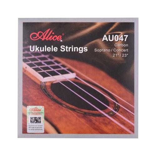 Alice AU047 Ukulele Saiten Carbon Sopran Konzert Saitenset für Ukulele von 21 Zoll bis 23 Zoll