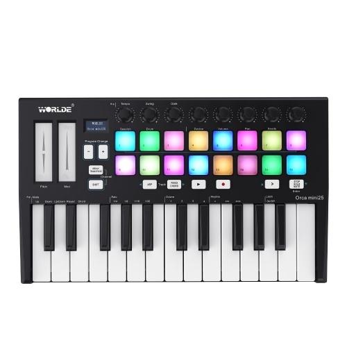 WORLDE Orca mini25 Portable 25-Key USB MIDI Keyboard Controller