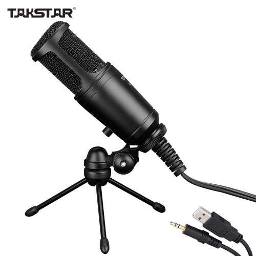 Takstar GL-100FX Wired Condenser Side-address Recording Mic Microphone for Computer with Tripod Desktop Mic Stand
