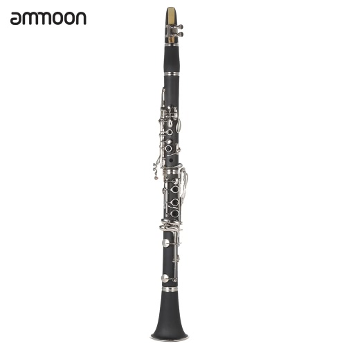 ammoon ABS Clarinet Bb Cupronickel Plated Nickel 17 Key Woodwind Instrument for Beginner Student