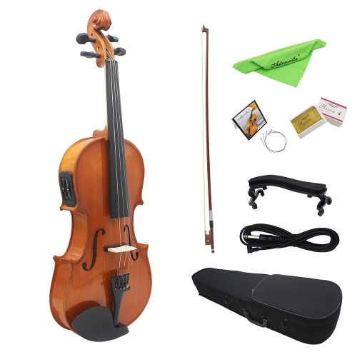 "4/4 Full Size Natural Acoustic EQ Violin Fiddle Solid Wood Spruce Face Board with 6.35mm 1/4"" Connector Wire Shoulder Rest Bow Rosin String Clean Cloth Hard Case I1857"