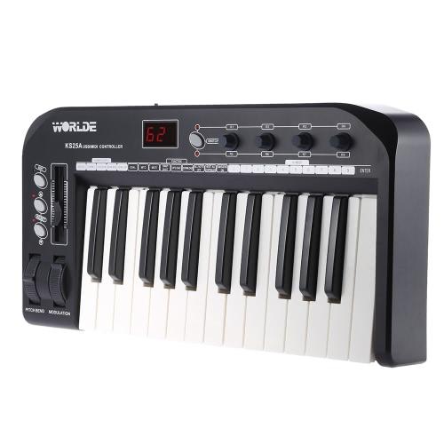 KS25A Portable 25-key USB MIDI Keyboard Controller z kablem USB