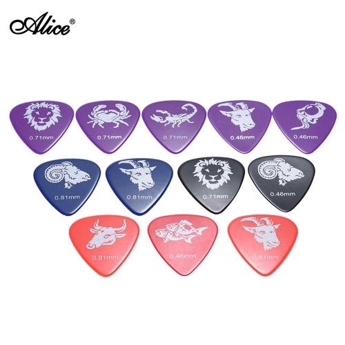 Alice AP-12C 12pcs/pack Celluloid Guitar Picks Plectrum Mix Gauges 0.46mm/0.71mm/0.81mm w/ Constellation Pattern (Random Color)