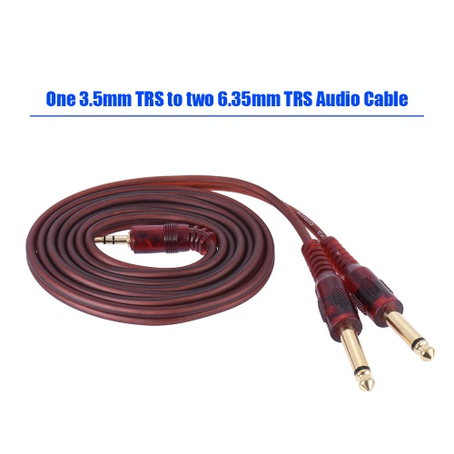 "1.5m / 5ft Stereo Audio Cable Cord Wire 3.5mm 1/8"" Male to Dual 6.35mm 1/4"" TRS Male Plug for Computer Mixer Mixing Console I2307"