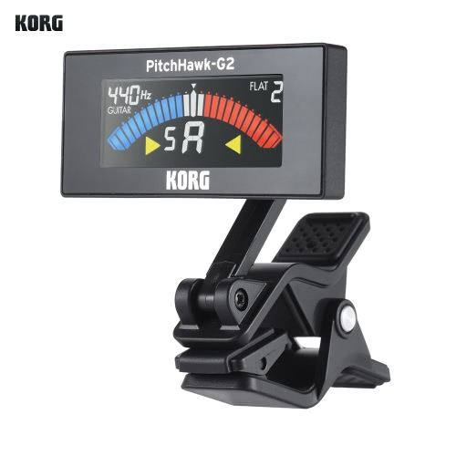 KORG AW-3G2-BK PitchHawk-G2 Rotatable Digital Electronic Clip-On Tuner Color LCD Display for Guitar Bass Chromatic