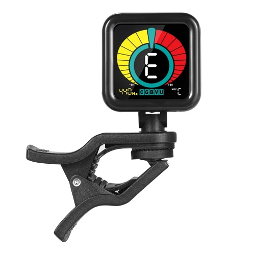 Black Square Premium Clip Tuner Guitar Bass Violin Ukelele Chromatic Mode with Full Color Colorful Display for All Musical Instruments