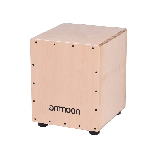 ammoon Medium Size Wooden Cajon Box Drum Hand Drum Percussion Instrument Birch Wood with Adjustable Strings Carrying Bag for Adults Children