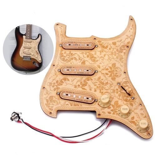 Załadowany Prewired Drewniana gitara Pickguard Maple Wood Plate SSS Pickups z dekoracyjnym kwiatowym wzorem dla Fender ST Gitary elektryczne