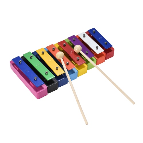 Deluxe Colorful 8 Note Glockenspiel Resonator Bells Set Percussion Musical Educational Teaching Instrument Toy with 2 Mallets for Baby Kids Children