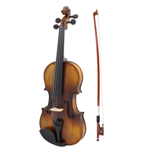 ammoon AV-508 4/4 Full Size Acoustic Violin Fiddle Kit Solid Wood Matte Finish Spruce Face Board 4-String Instrument with Hard Case Bow Rosin Clean Cloth Extra Strings Fingerboard Sticker