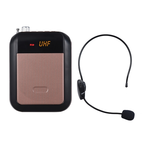 Mini amplificatore vocale portatile UHF Amplificatore Altoparlante Radio FM con microfono wireless Auricolare Surpport TF Card
