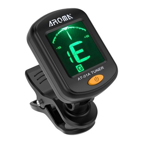 AROMA AT-01A Rotativo Clip-on Tuner Pantalla LCD para Guitarra Cromática Ukulele Bajo Violín