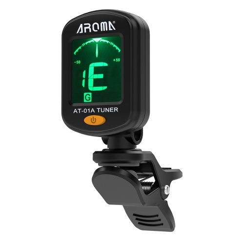 AROMA AT-01A Rotativo Clip-on Tuner Display LCD para Guitarra Cromática Baixo Ukulele Violino