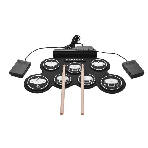Kit de batterie compacte USB en silicone compacte Kit de batterie électronique numérique 7 pads de batterie avec pilons Pédales pour débutants Enfants Enfants