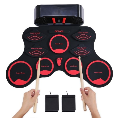 ammoon Portable Electronic Drum Set Digital Roll-Up MIDI Drum Kit 9 Silicon Durm Pads Built-in Stereo Speakers Rechargeable Lithium Battery with 2 Foot Pedals for Kids Children Beginners